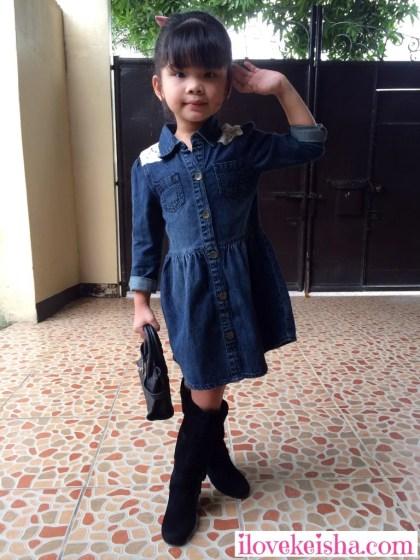 Keisha Wears Mothercare Denim Dress for kids