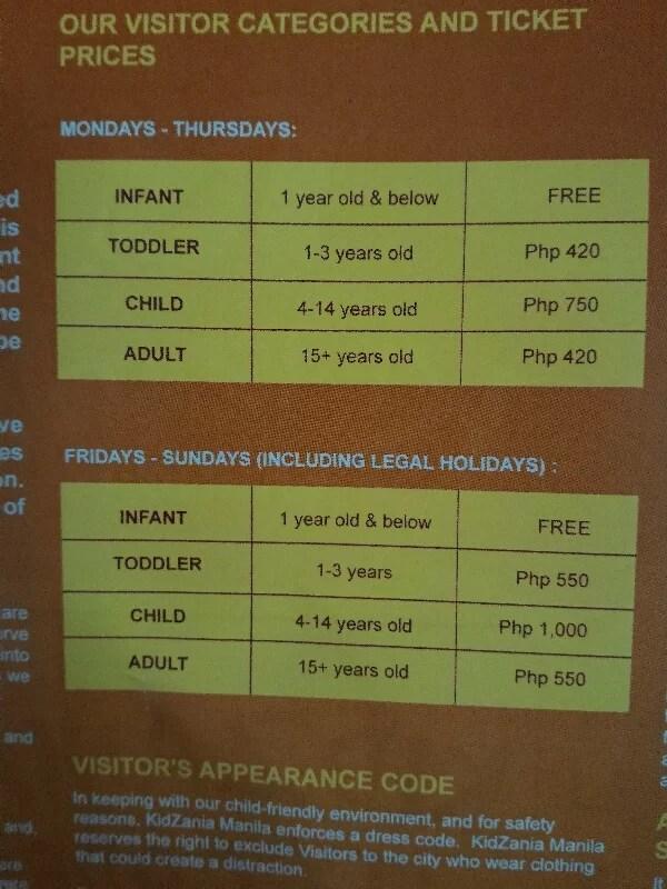 KidZania Ticket Price