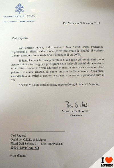 lettera papa cdd livigno