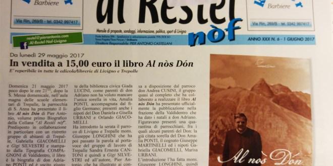 """Al Restèl di giugno 2017 ed il libro """"Al nòs Dòn"""""""