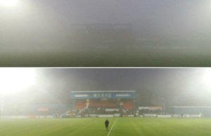 The top picture shows Moss Rose when the game was suspended and the bottom one when the game was called off