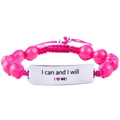 I Can And I Will - Ruby Pink Jade Bracelet