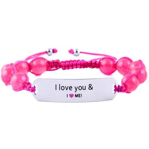 I Love You And I Love Me - Ruby Pink Jade Bracelet