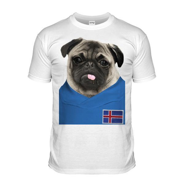 Iceland Pug Football T Shirt Adult Unisex I Love Pugs