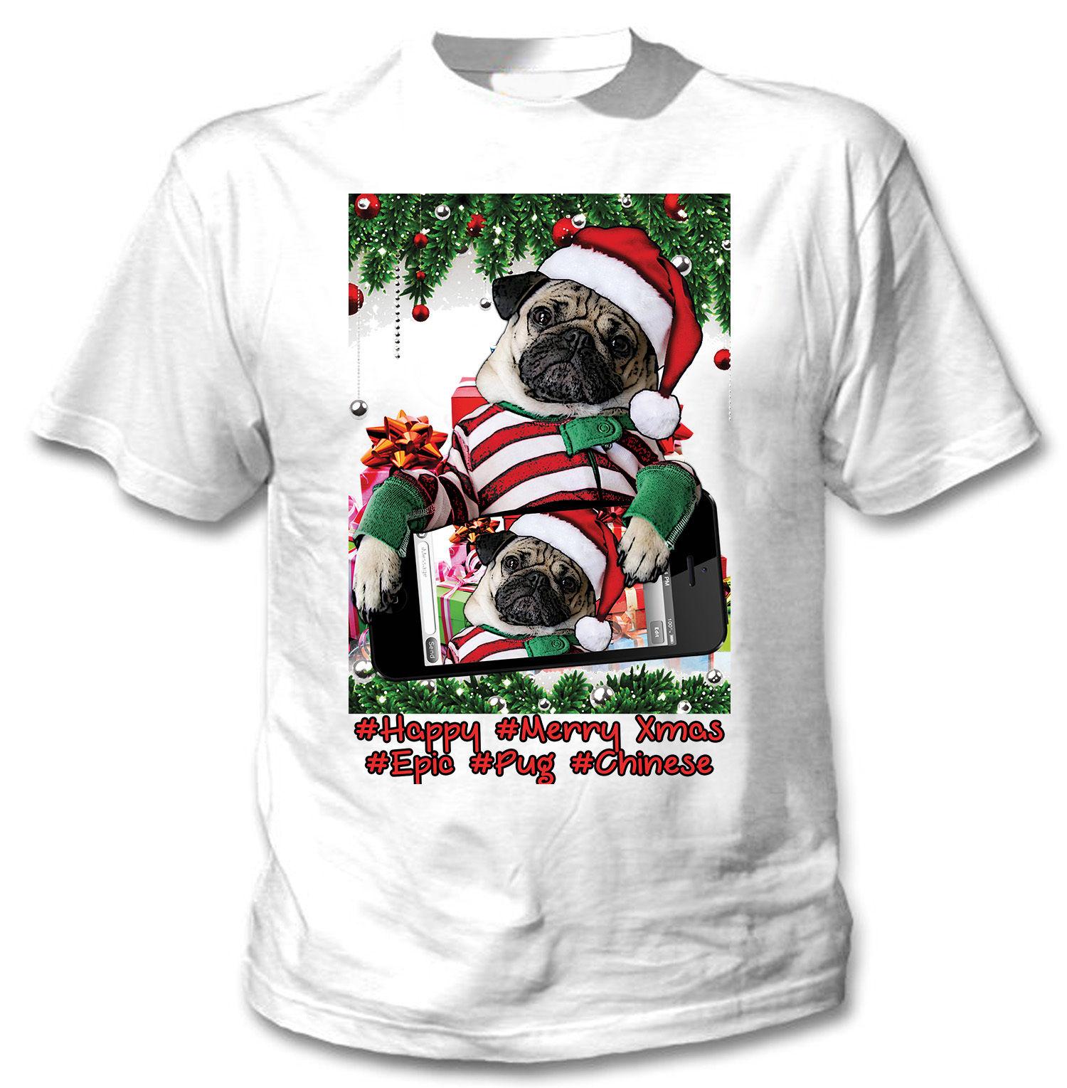 Unisex Funny Pug Selfie Christmas T Shirt I Love Pugs