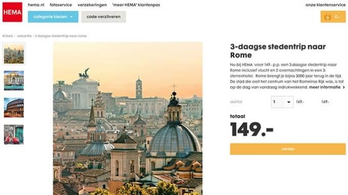 Hema 3-daagse stedentrip naar Rome