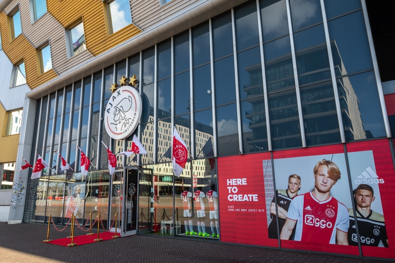 Ajax fanshop in de Johan Cruijff Arena in Amsterdam