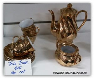 Hi tea would be a glitzy affair with this gold tea set!