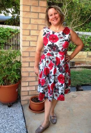 """My latest find – this dress was $7 but I got it for $3.50 in a 50% off sale at my favourite Salvos store. The label says """"Timeless by Vannessa Tong"""" – it's not one I'm familiar with but I feel a million bucks in it!"""