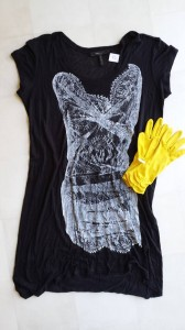 BCBG Max Azria dress & yellow gloves. $8 spent