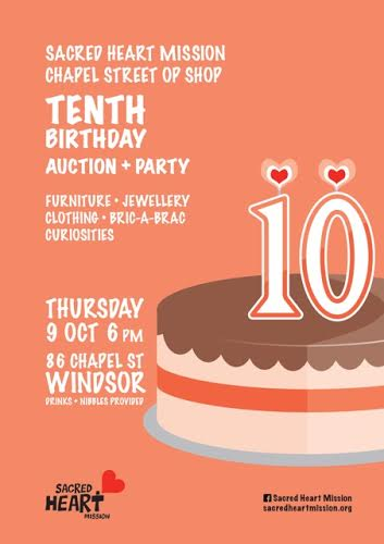 Happy 10th Birthday to Sacred Hearts Chapel Street op shop!