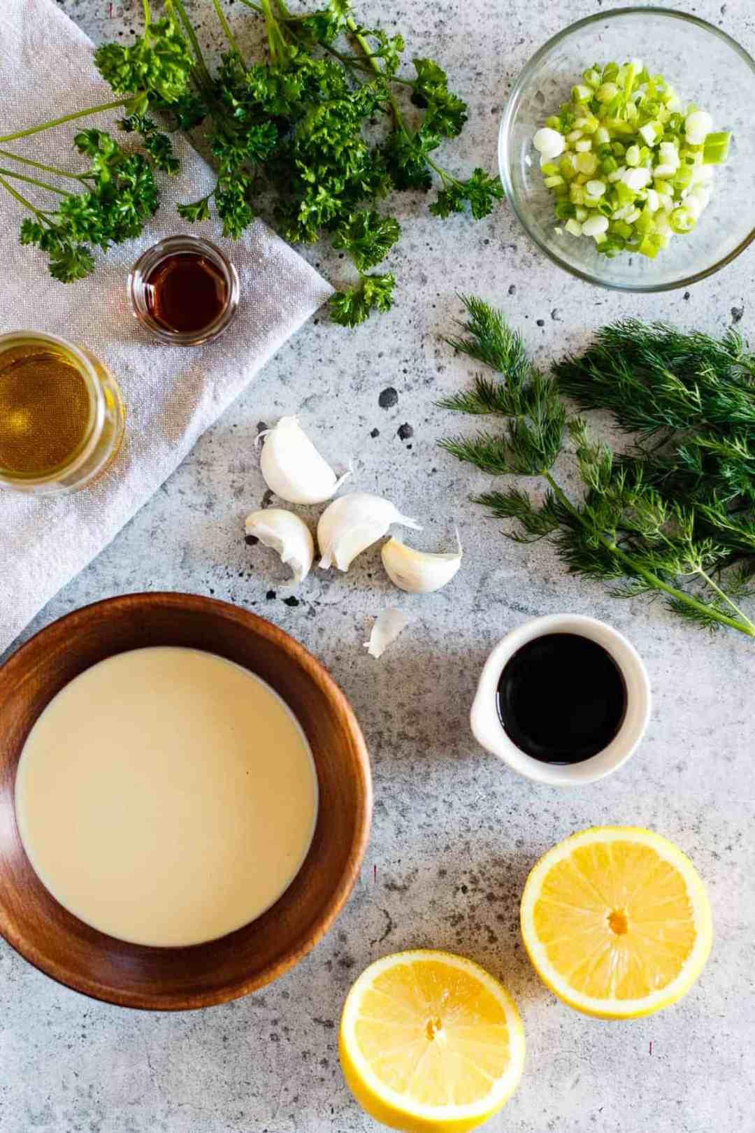 Ingredients for Vegan Tahini Goddess Dressing