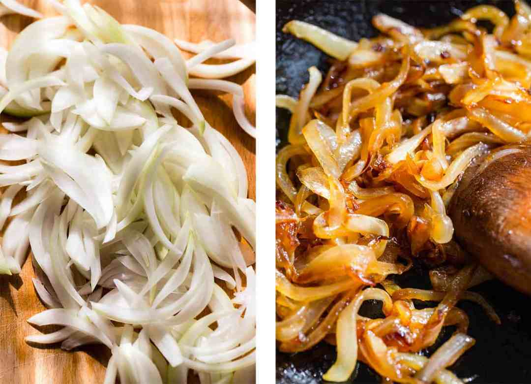 Left: raw, sliced white onion. Right: caramelizing onions in a cast-iron pan.