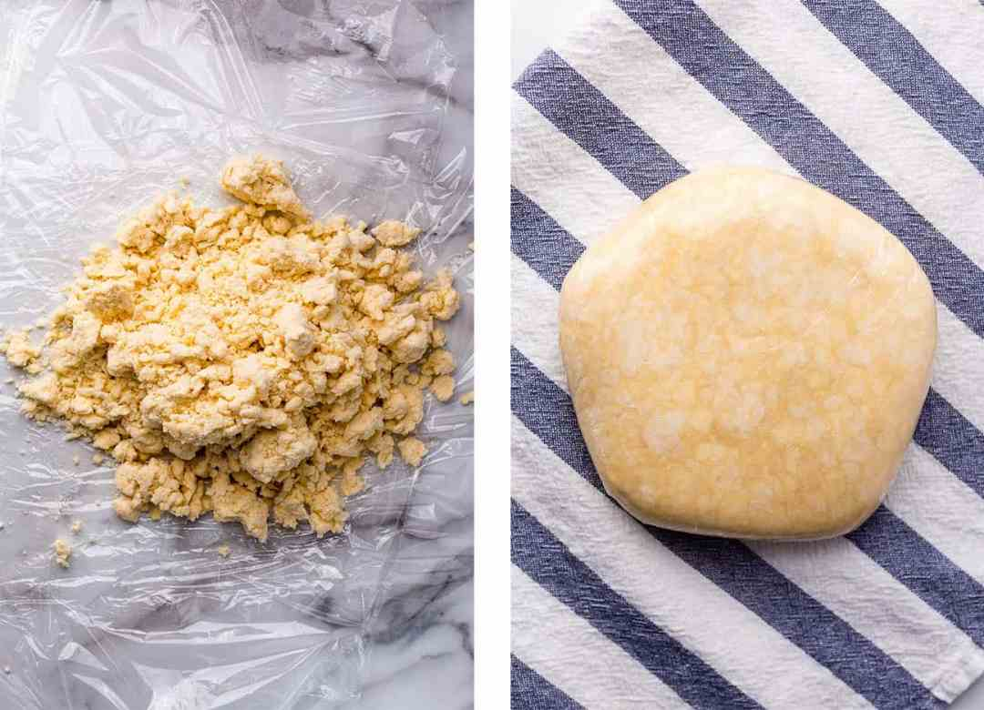 Left: Vegan pie dough ready to be tightly wrapped in plastic wrap. Right: A compact disk of vegan pie dough before chilling.