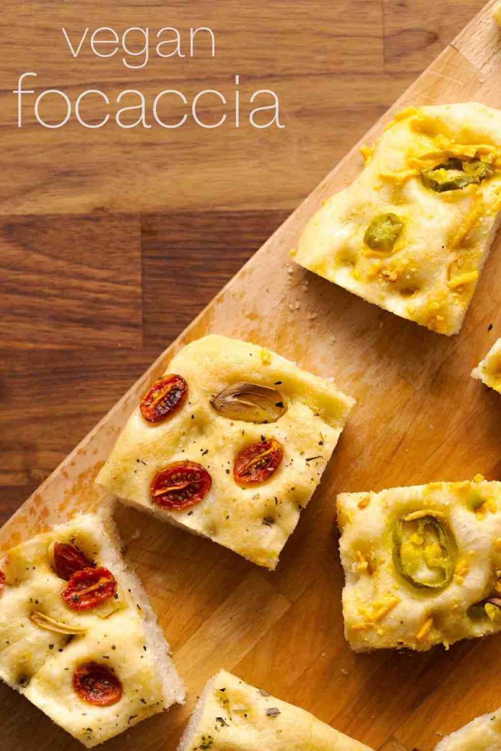 Jalapeno cheese and tomato herb focaccia dough side-by-side and ready for baking.