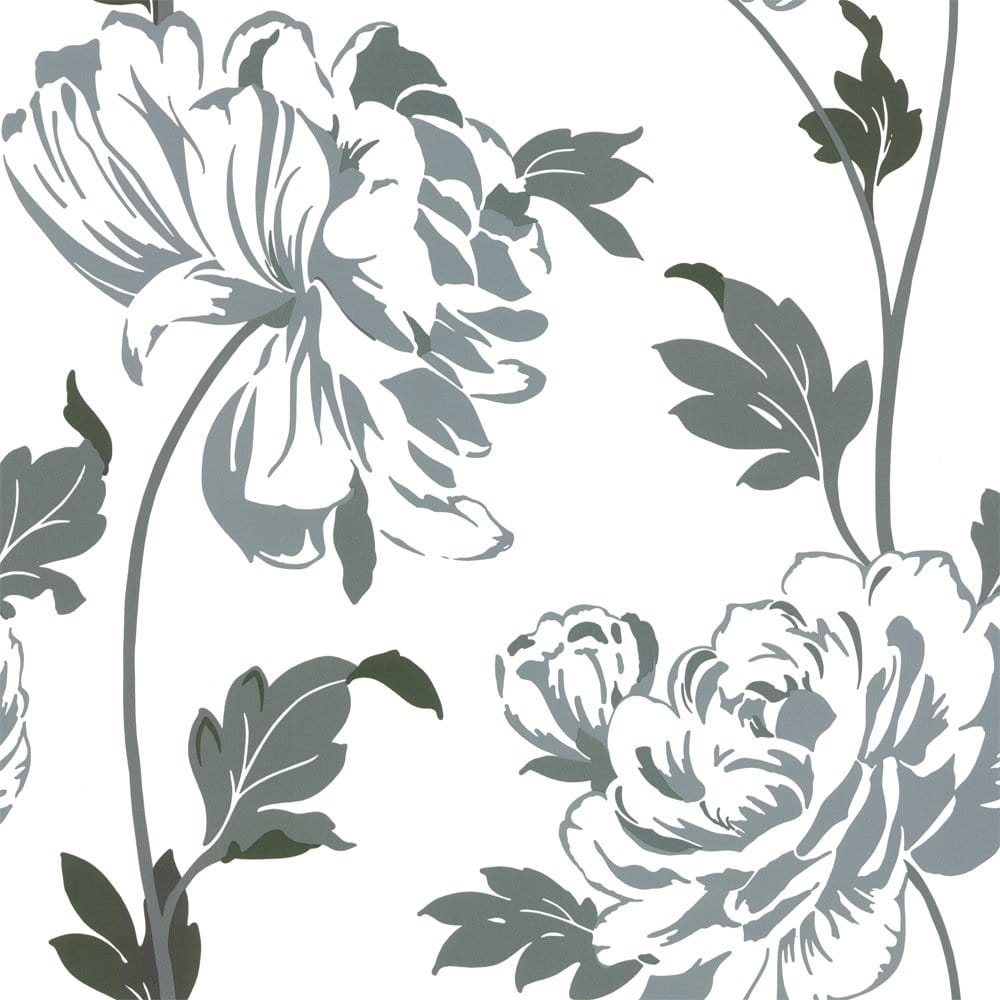 Designer Selection Glam Floral Wallpaper Charcoal Grey White 01429GLAMFB Wallpaper From