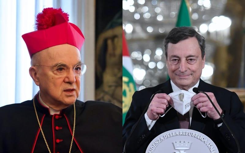 """Monsignor Viganò contro Draghi: """"Rappresenta la tirannide devastatrice del Nuovo ordine"""""""