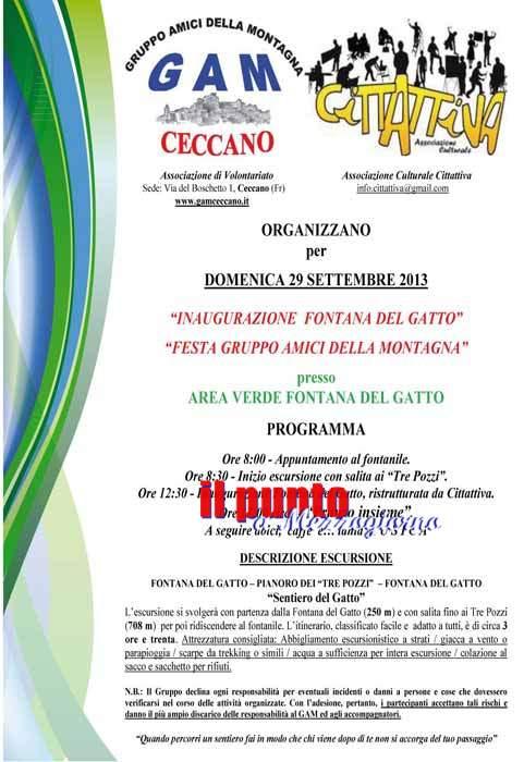 Inaugurazione di Fontana del Gatto Domenica 29 settembre a Ceccano