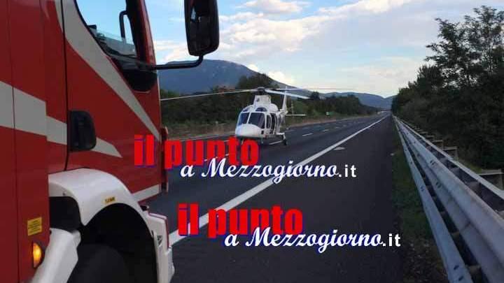 Incidente sull'a1 a Pontecorvo. Donna in gravi condizioni elitrasportata a Roma