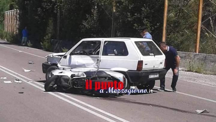 Incidente tra scooter e Panda sulla Cassino Sora, due feriti