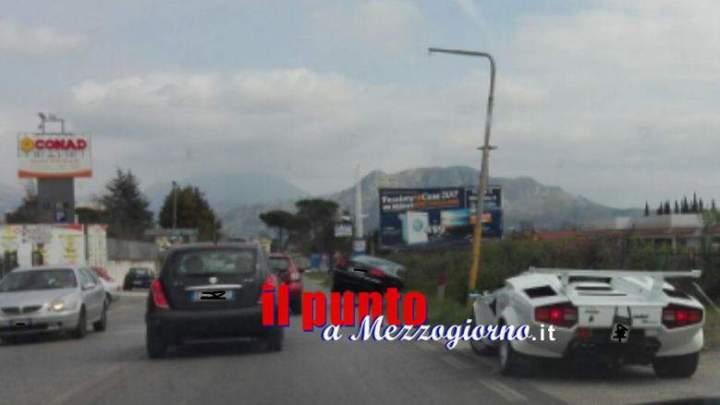"""Incidente stradale tra """"super car"""" a Cassino, coinvolta una Lamborghini"""