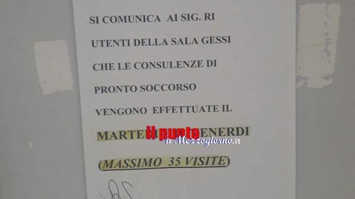 Ospedale di Cassino, ambulatori chiusi per ferie e sala gessi a numero di utenza limitato