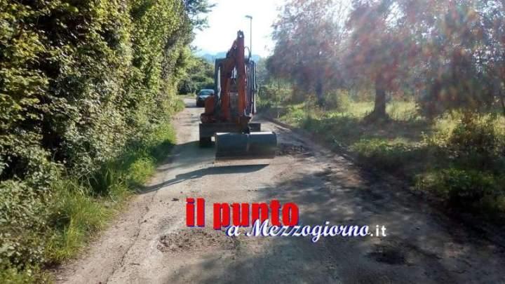 Sant'Angelo in Th: Colle Romano, iniziati i lavori di rifacimento del manto stradale