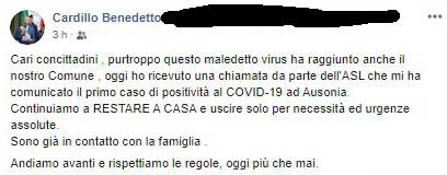 Coronavirus, primo caso positivo ad Ausonia
