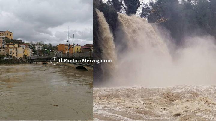 Piena del fiume Liri: cascata Grande di Isola del Liri e ponte vecchio chiuso a Pontecorvo FOTO E VIDEO