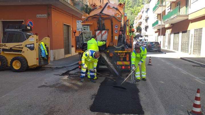 Cassino – Lavori di manutenzione in via Enrico De Nicola