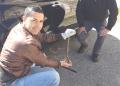 La Vipera salvata ieri a San Giovanni in Fiore (a sx G.Congi e a dx S.Gallo che ha segnalato il rettile)