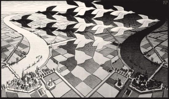 Maurits Cornelis Escher Giorno e notte Febbraio 1938 Xilografia, 39,1x67,7 cm Collezione Giudiceandrea Federico All M.C. Escher works © 2016 The M.C. Escher Company. All rights reserved www.mcescher.com