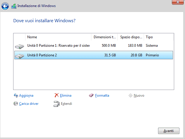 Formattazione durante l'installazione di Windows