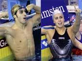 Filippo Magnini e Alessia Filippi trionfatori ai mondiali di nuoto in Finlandia rispettivamente nei 200 sl e nei 400 misti (Afp/Lehtikuva/Antti Aimo-Koivisto)