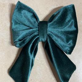 Fiocco per capelli in velluto verde