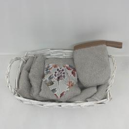 Cestino con 5 lavette e 1 guantino struccante