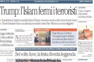 Le prime pagine dei giornali di lunedì 21 maggio