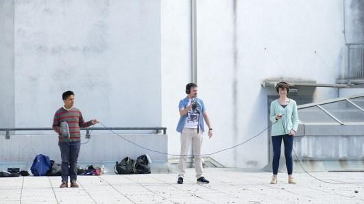 Eliel David Pérez Martínez, Matteo Fioretto e Eugenia Giannelli durante il workshop di Sound Design con Alessandro Sdrigotti per #ilsuonoinmostra - foto di Lara Carrer