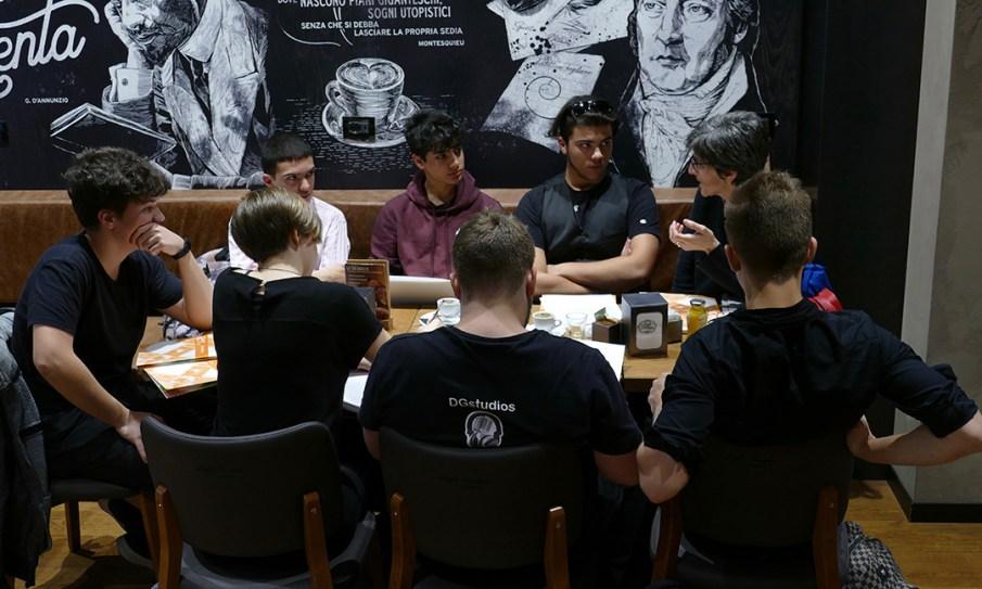 Gli studenti del progetto di ASL dell' ERT FVG con Silvia Colle, ciceroni per Il Suono in Mostra 2019 - foto di Lara Carrer