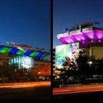 Con tecnología LED se iluminó la sede del Super Bowl