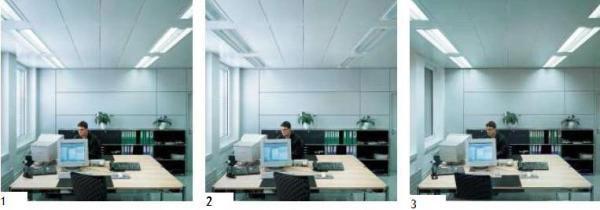 1. En la mañana, la luz de día es suficiente para iluminar el escritorio. La línea de luminarios cercana a la ventana ilumina poco, mientras la más lejana lo hace con más potencia a fin de mantener una luz constante en toda el área de trabajo. 2. Al mediodía la habitación es iluminada por la luz natural y ambas líneas de luminarios no trabajan. En un día nublado, los controles mantienen un nivel de iluminación que resulte agradable al trabajador. 3. En la tarde, las dos líneas de luminarios brindan la misma cantidad de luz para lograr una distribución uniforme en la habitación; como pronto el área de trabajo estará vacía los detectores reducen la luminancia o desactivan la iluminación.