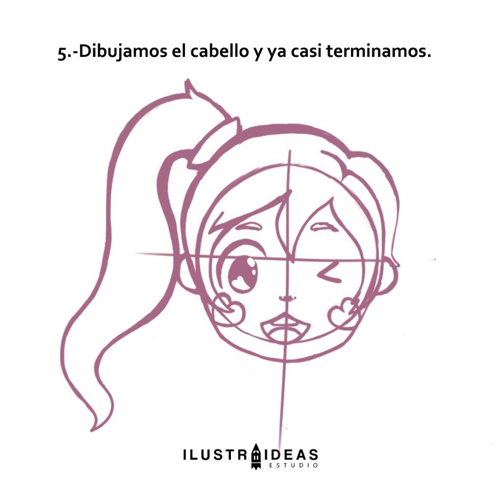 dibujar una cabecita estilo anime
