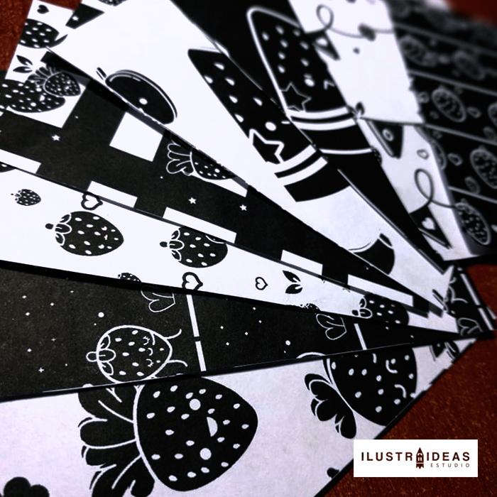 papel deco blanco y negro de fresa