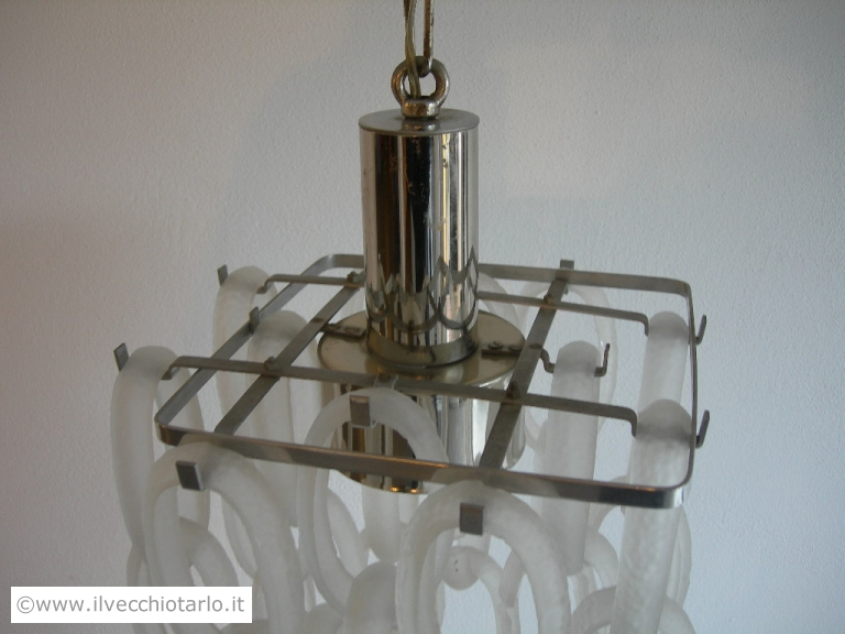 Il prodotto è funzionante l'impianto elettrico è. Lampadariooriginale Vintage Anni 70 Acciaio Ed Anelli Vetro Di Murano Satinati E Martellati