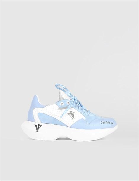Villy синие кожаные женские кроссовки - İLVİ