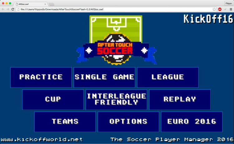 Aftertouch soccer menu