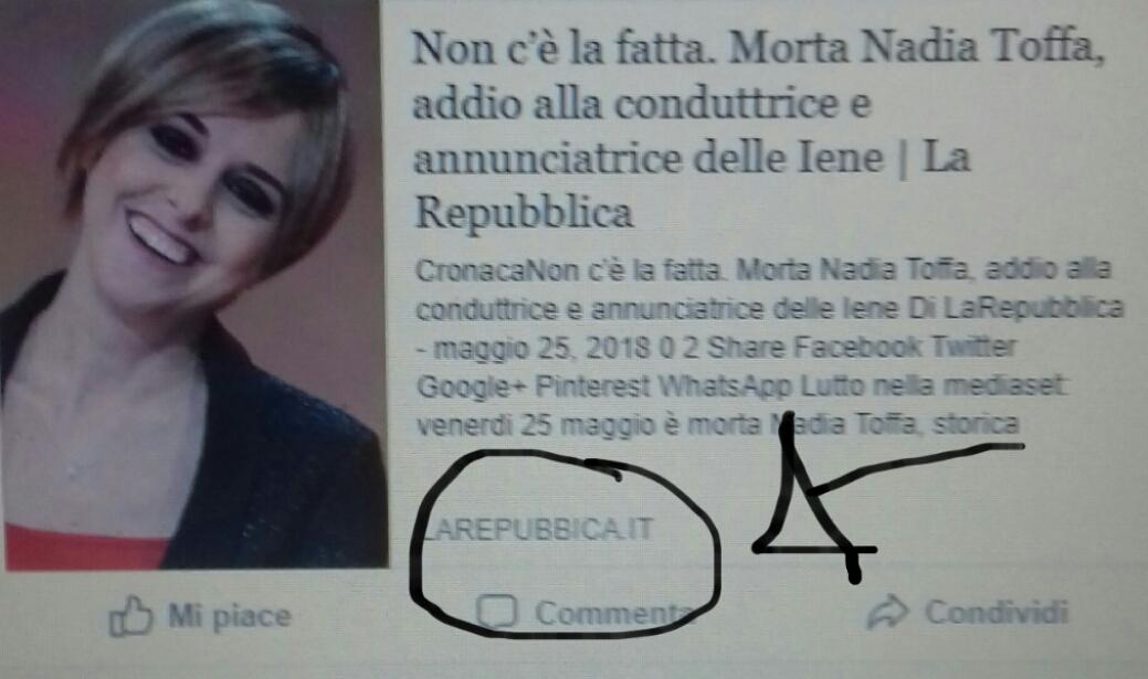 Nadia Toffa: Bufala nei social,attenzione alle fonti!!