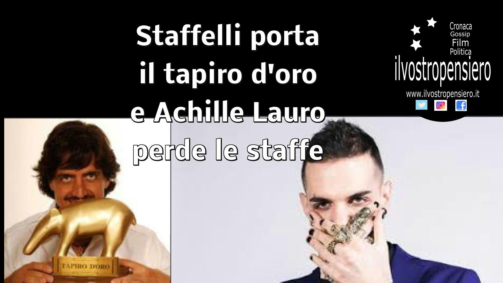 Valerio  Staffelli: porta all'ex pusher Achille Lauro per la sua canzone che e' un inno alla droga!!