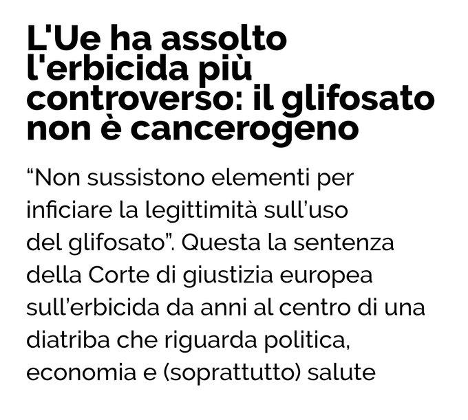 """La UE sul Glifosato: """"Non sussistono elementi per inficiare la legittimità sull'uso del glifosato""""."""