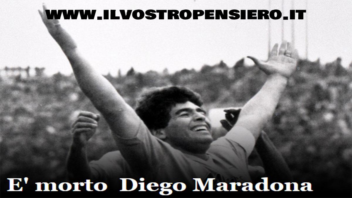 Sport: E' morto Diego Armando Maradona